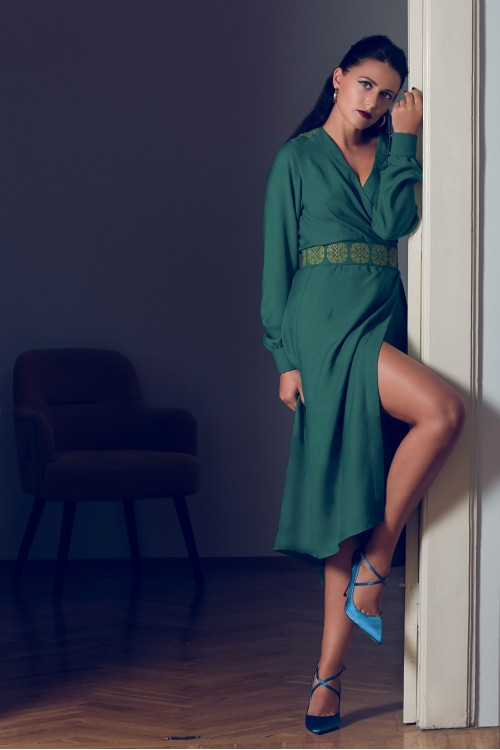 Lotus Silk Green Dress