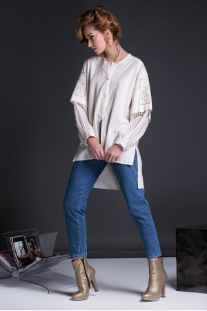 ORIGAMI NATURE BLOUSE WITH GOLDEN TOUCH