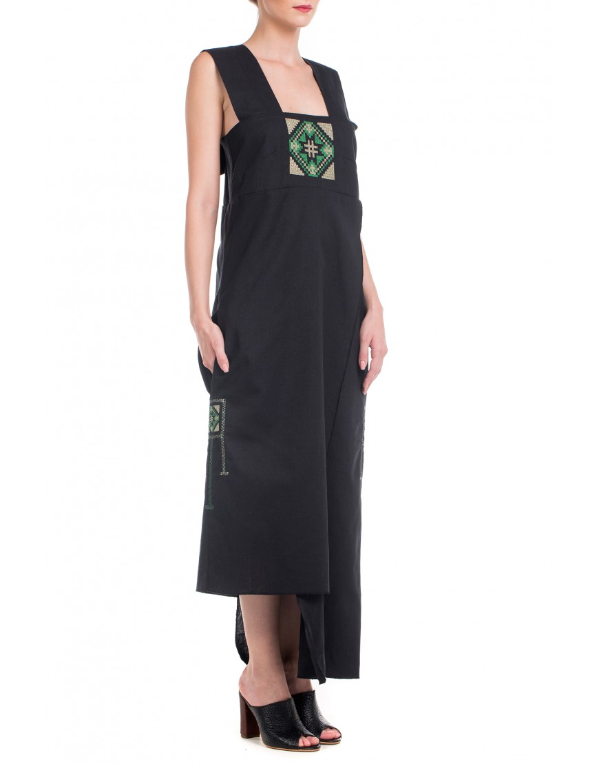 Blossom Eye Wrap Dress in Black