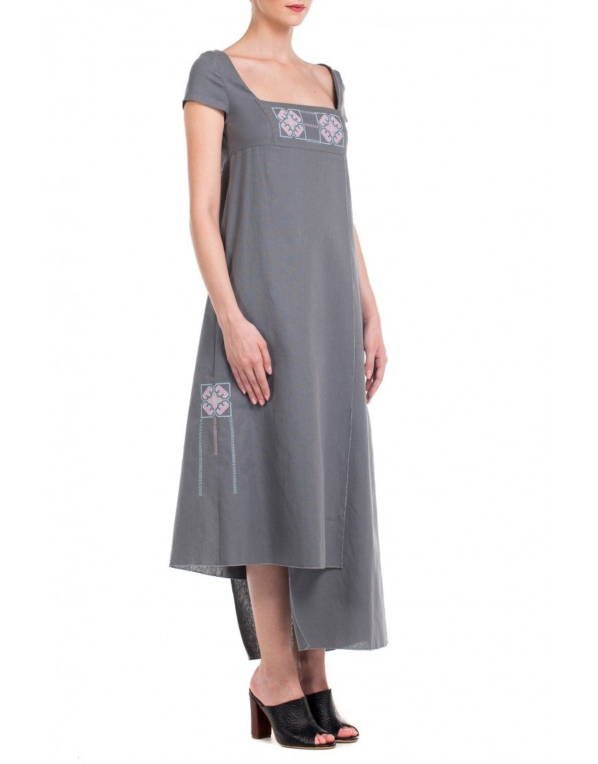 Origami Wrap Dress in Grey