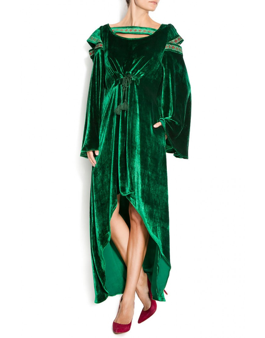 Rococo Velvet Dress in Green