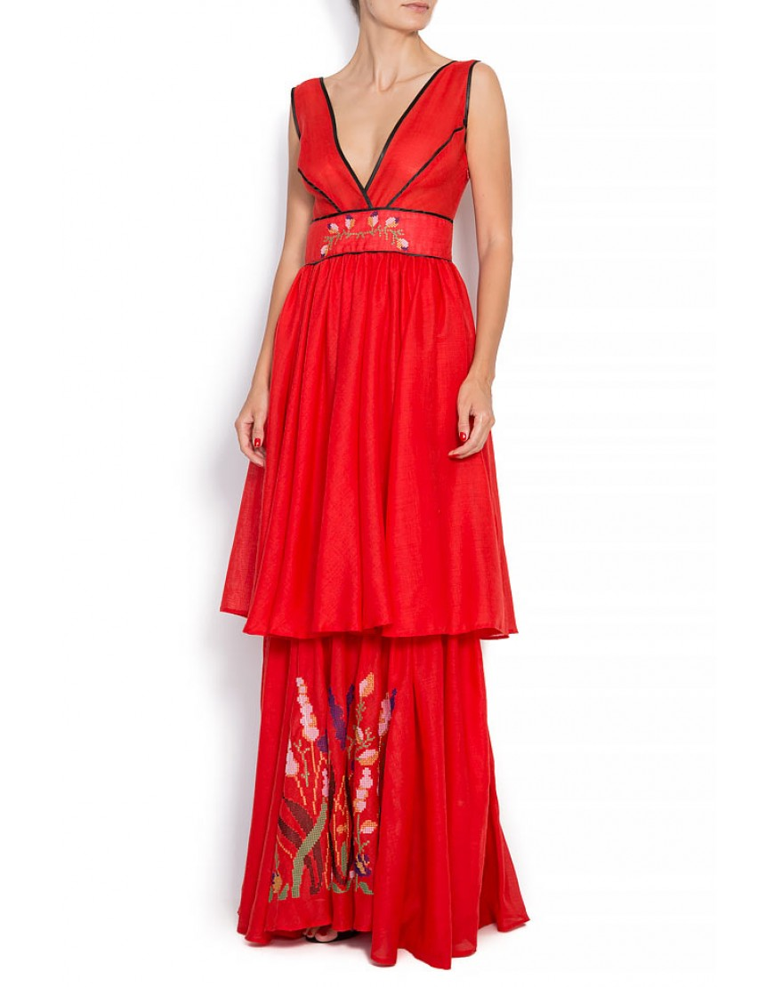 Flowerfield Dressy Gown in Red