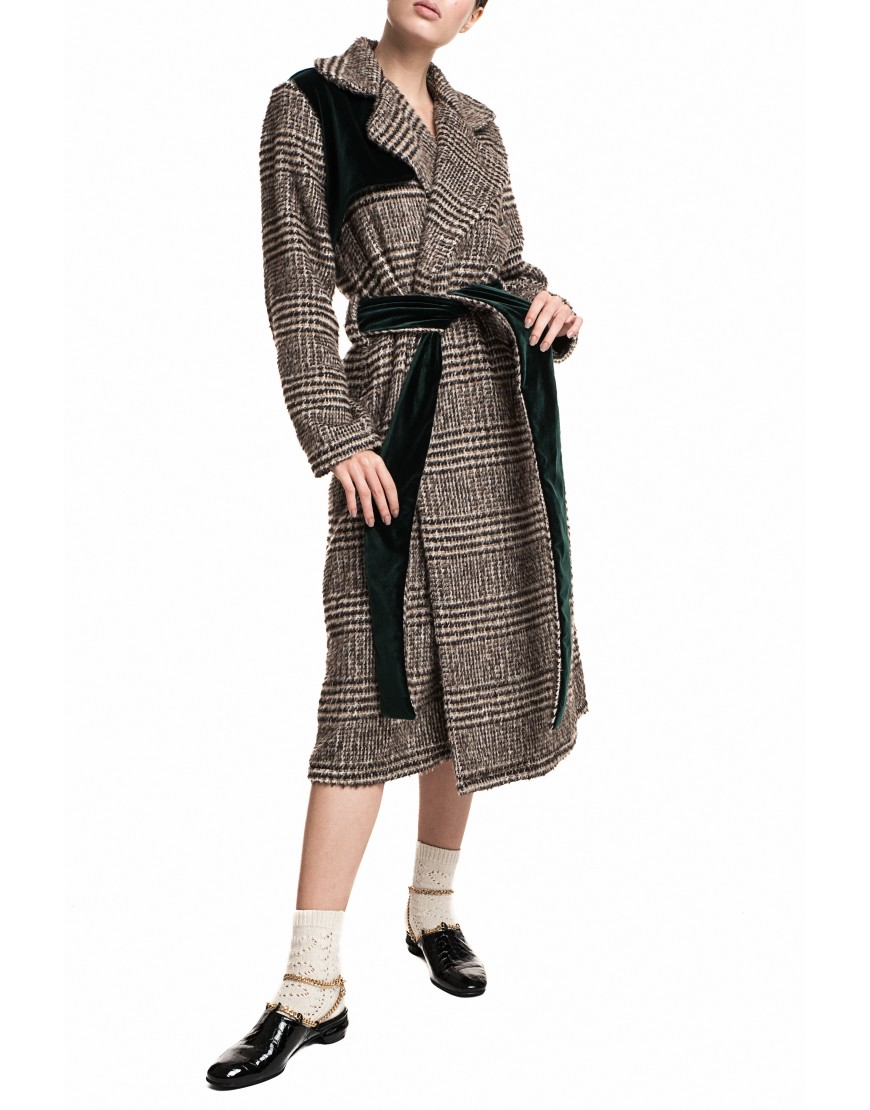 Florets Plaid Wool Coat