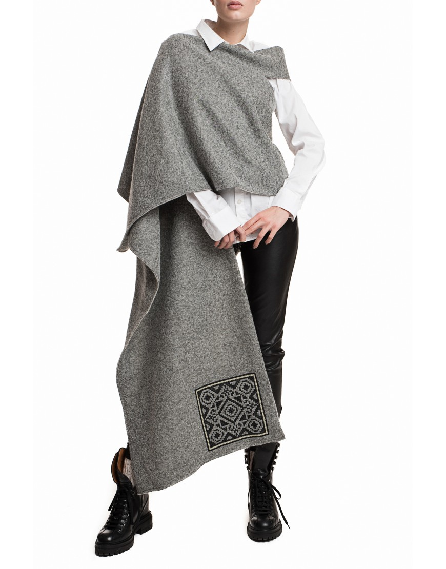 Labyrinth Asymmetric Grey Wool Cardigan