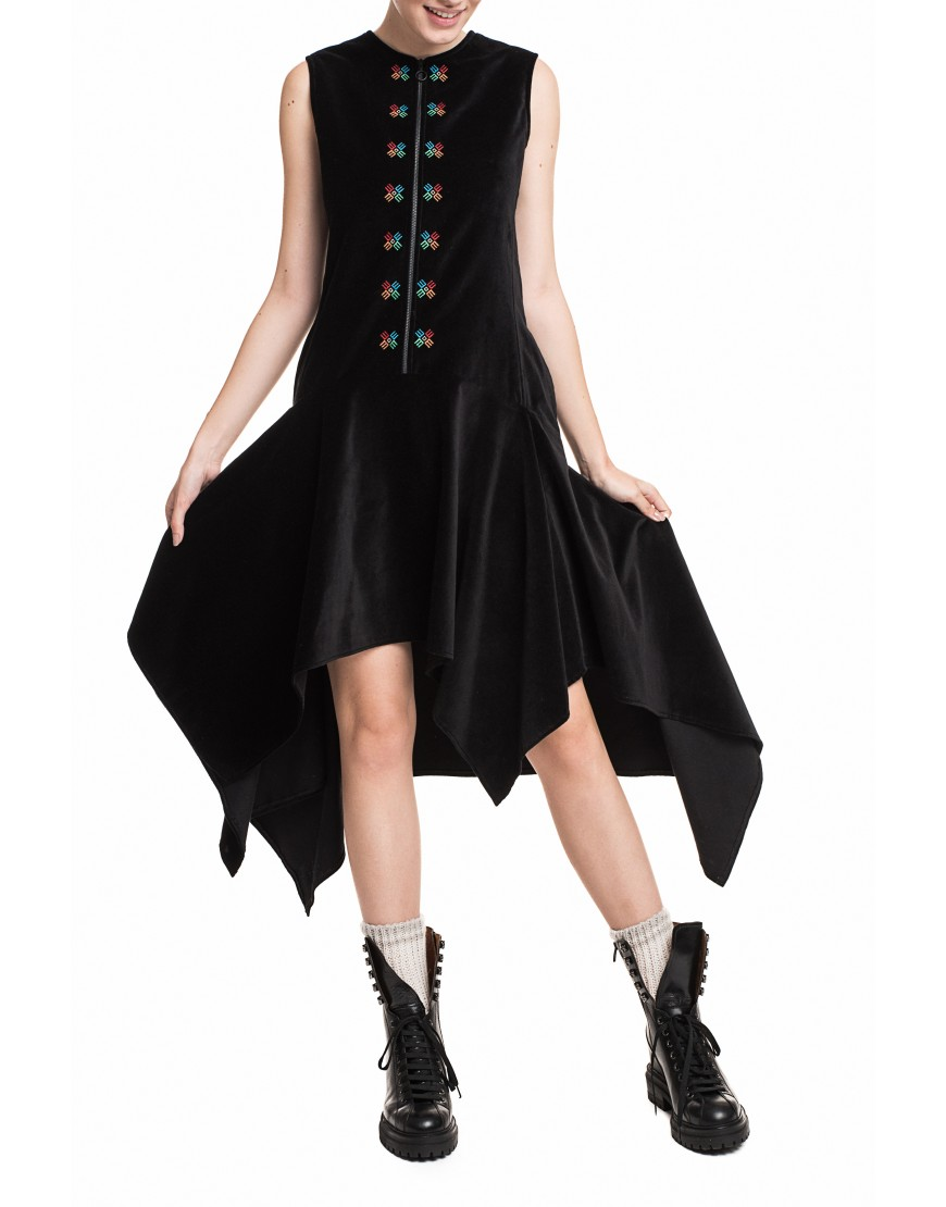 Logo Black Velvet Dress