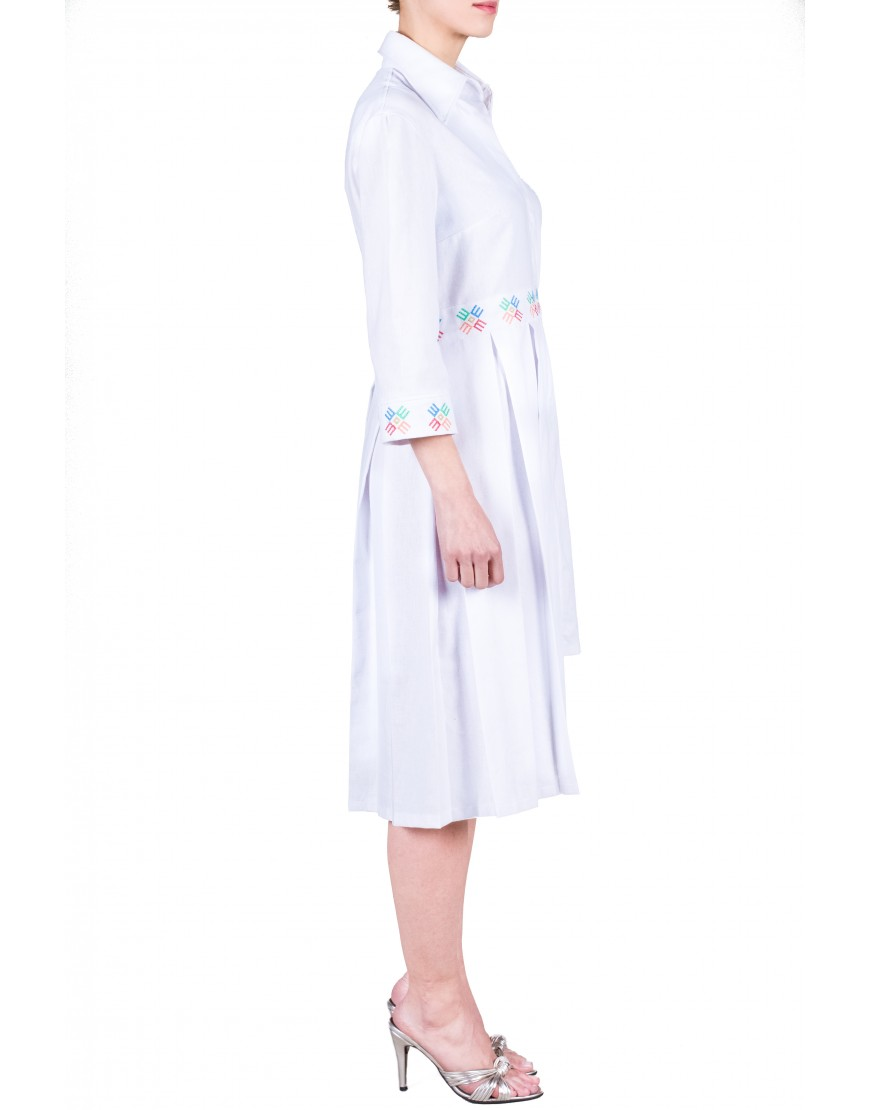 Logo Asymmetrical White Dress