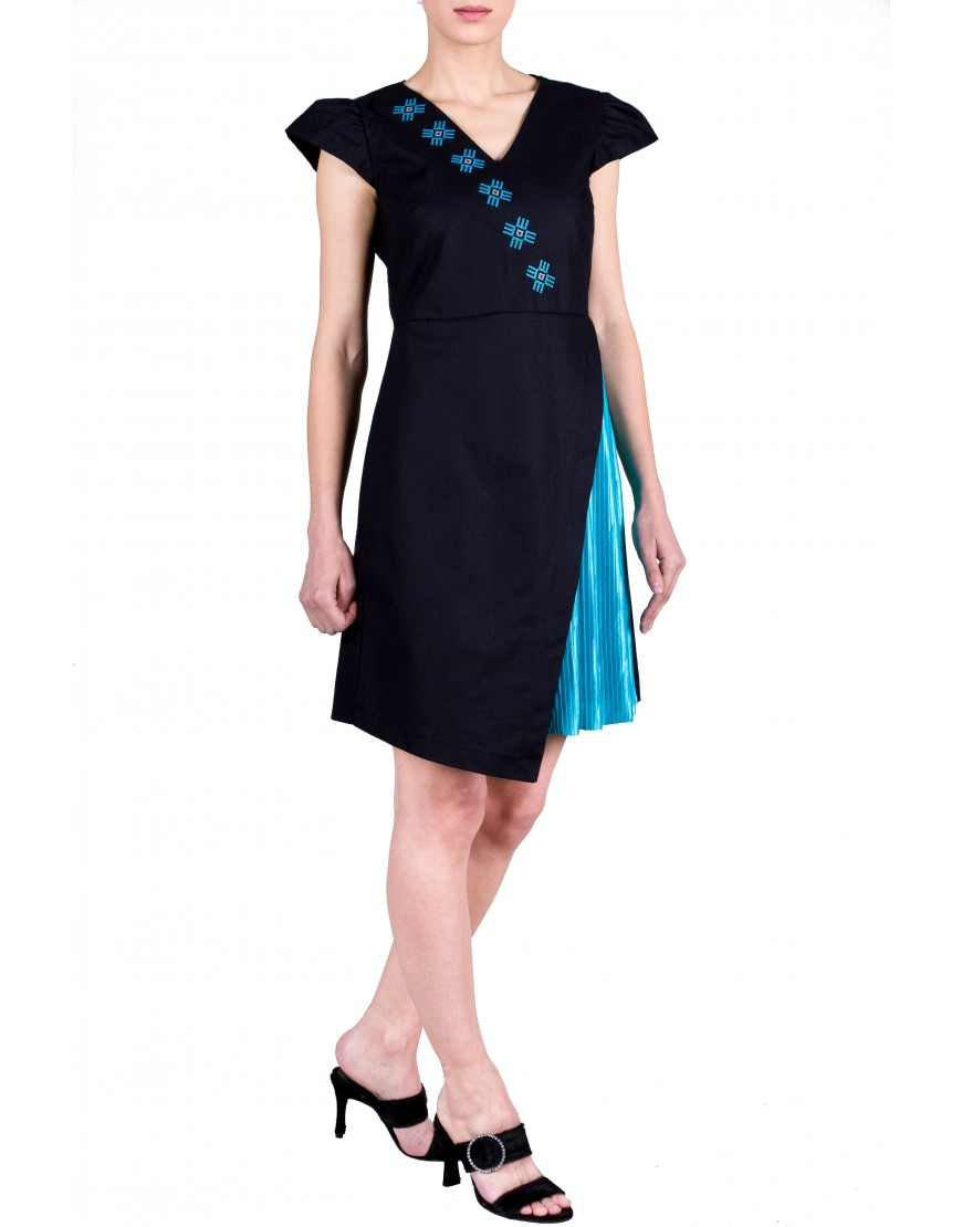 Logo Black Dress with Turquoise Touch