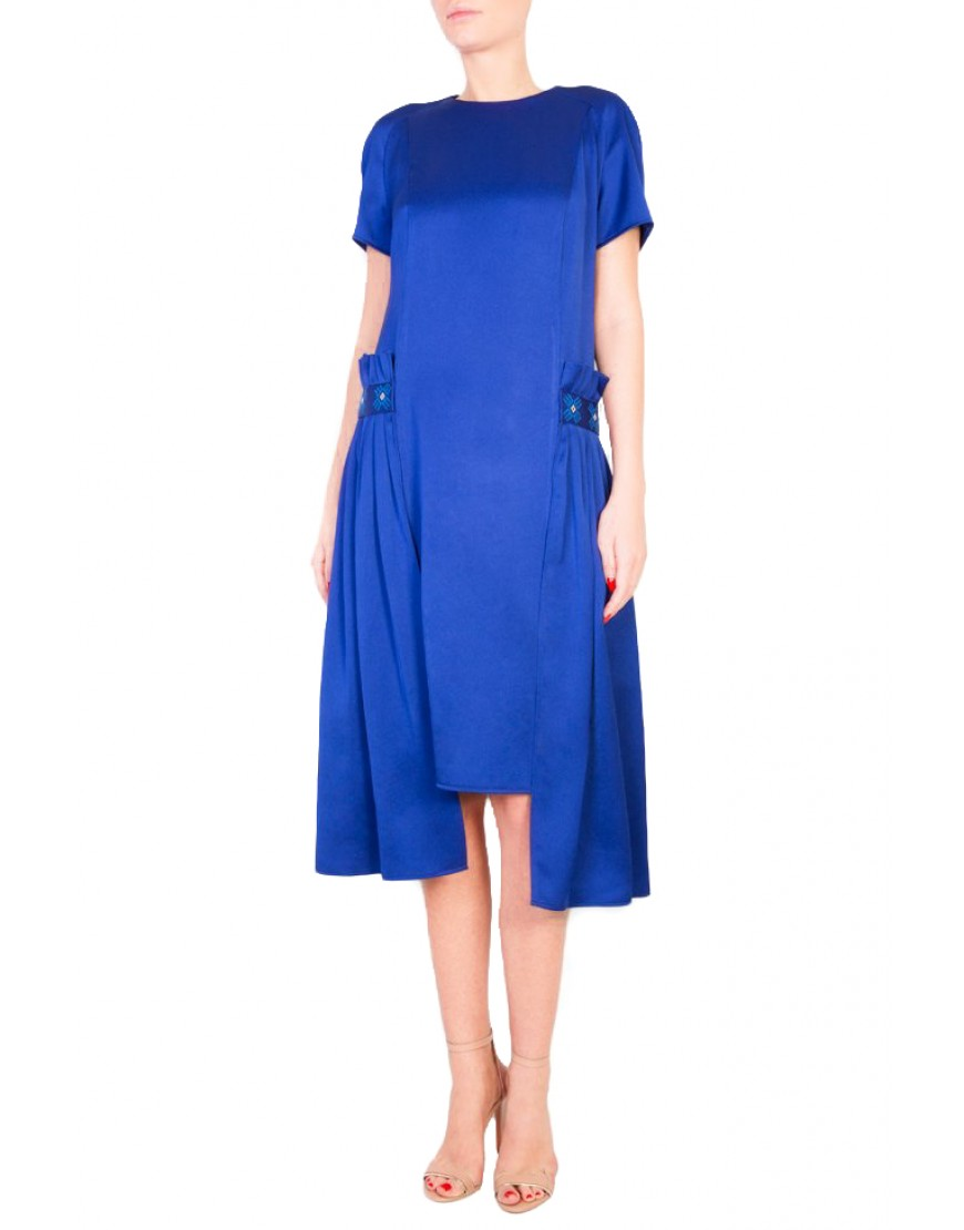 Logo Blue Silk Dress