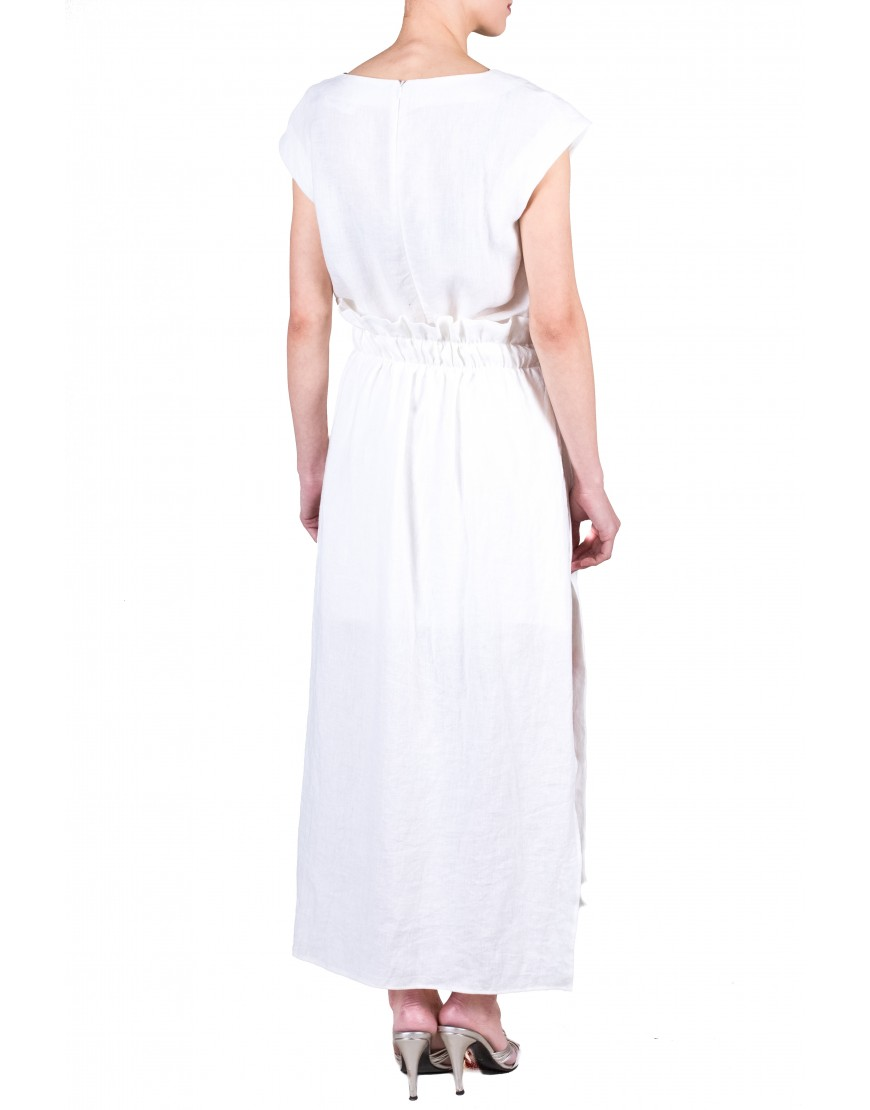 Logo Linen White Dress