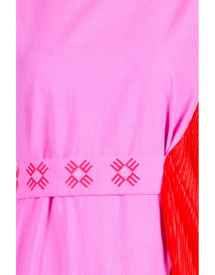 Logo Pink Long Dress with Red Touch