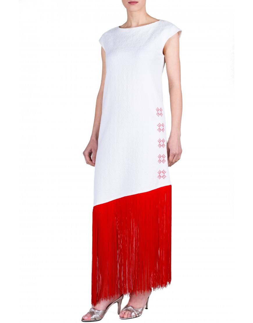 Logo White Long Dress with Red Touch