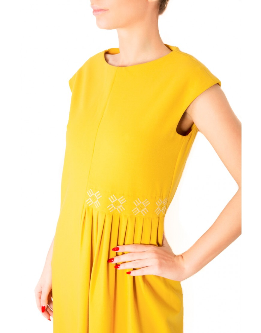 Logo Yellow Short Dress