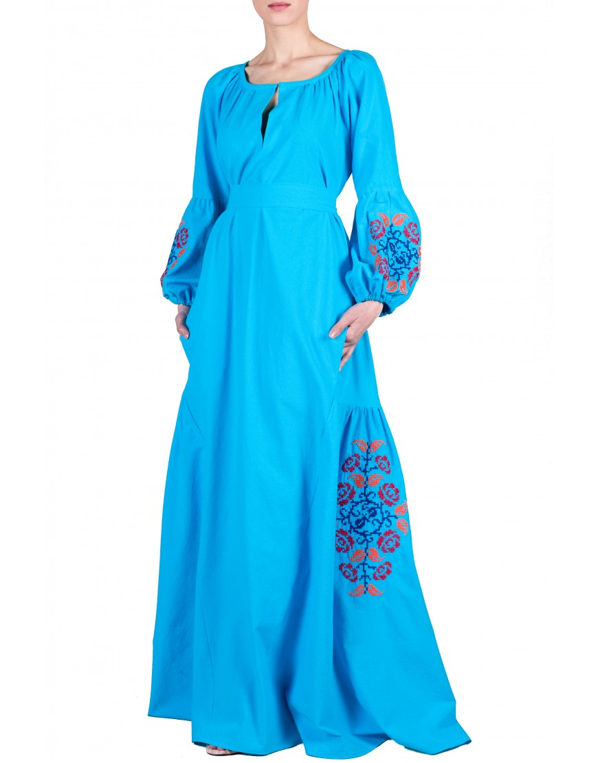 Roses Azure Long Dress