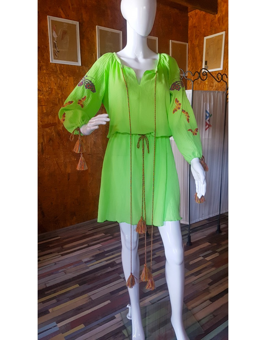Butterflies Green Short Dress