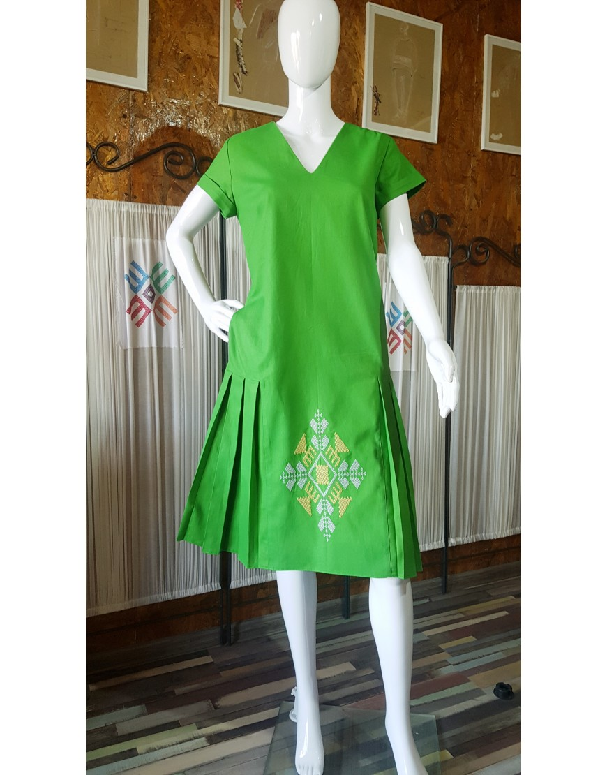 DIAMOND GREEN COTTON DRESS