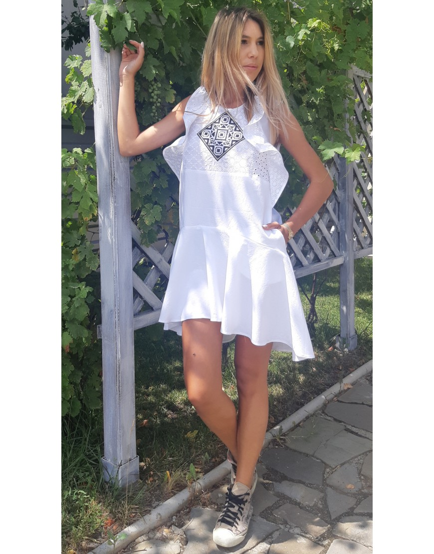 Diamonds White Dress with Lace Touch