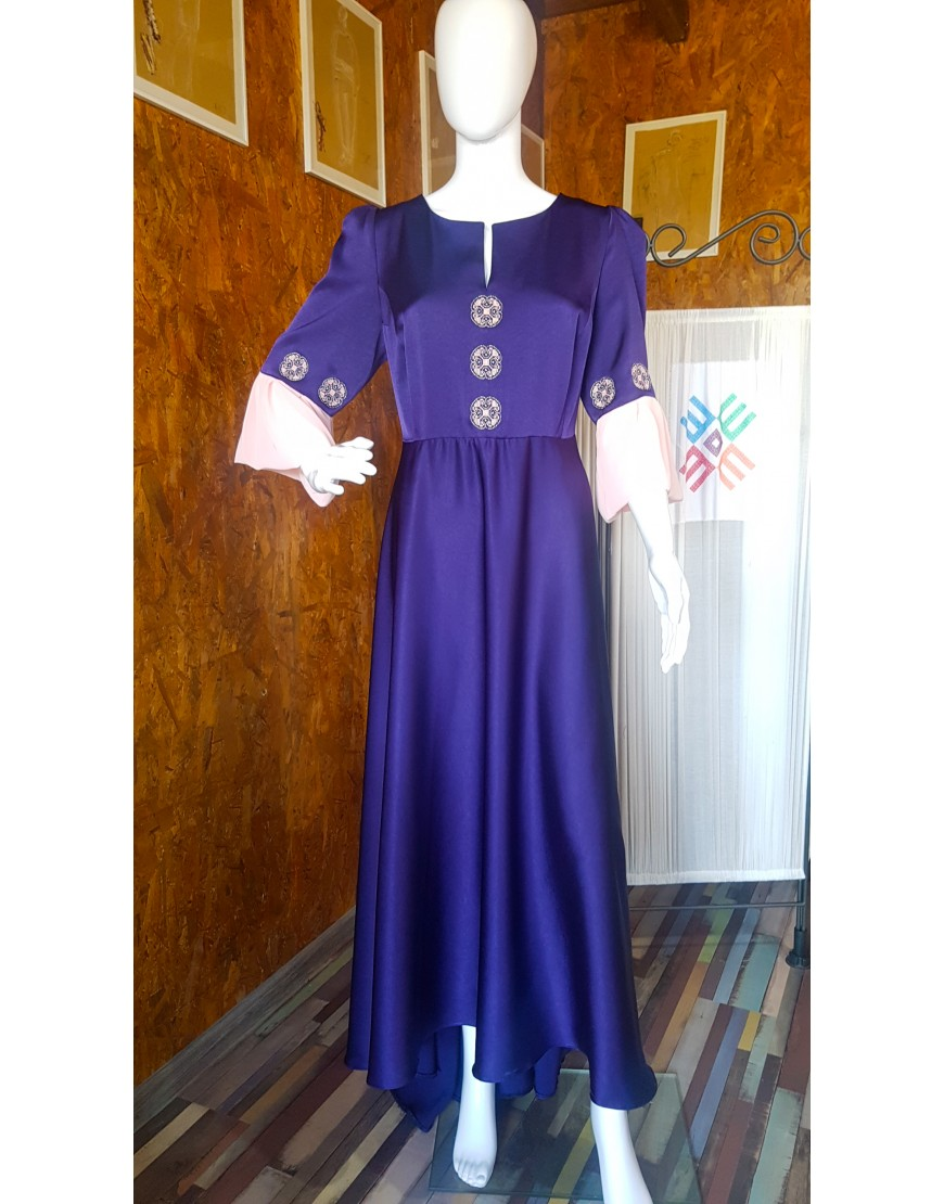 Flowers Purple Silk Long Dress