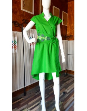 Roses Green Short Dress