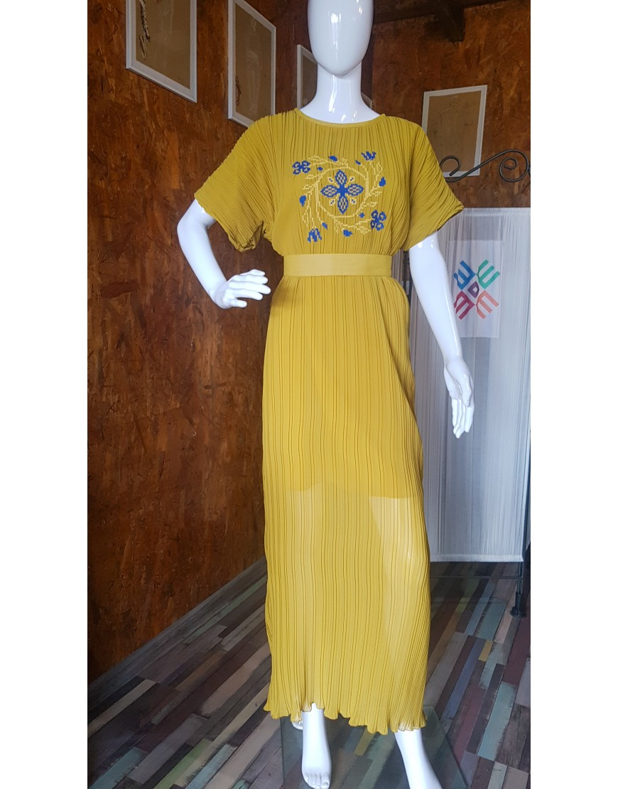 SpiralFlowers Mustard Yellow Long Dress
