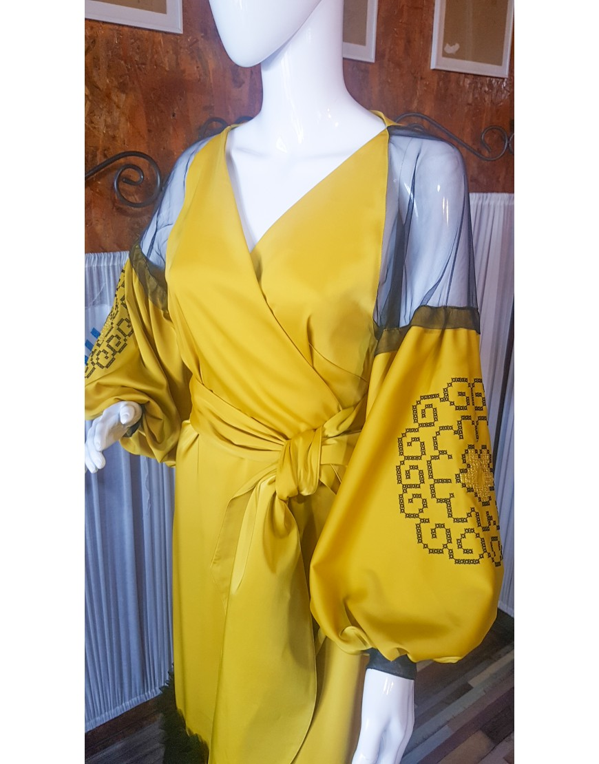 Spiralflower Silk Evening Dress in Yellow
