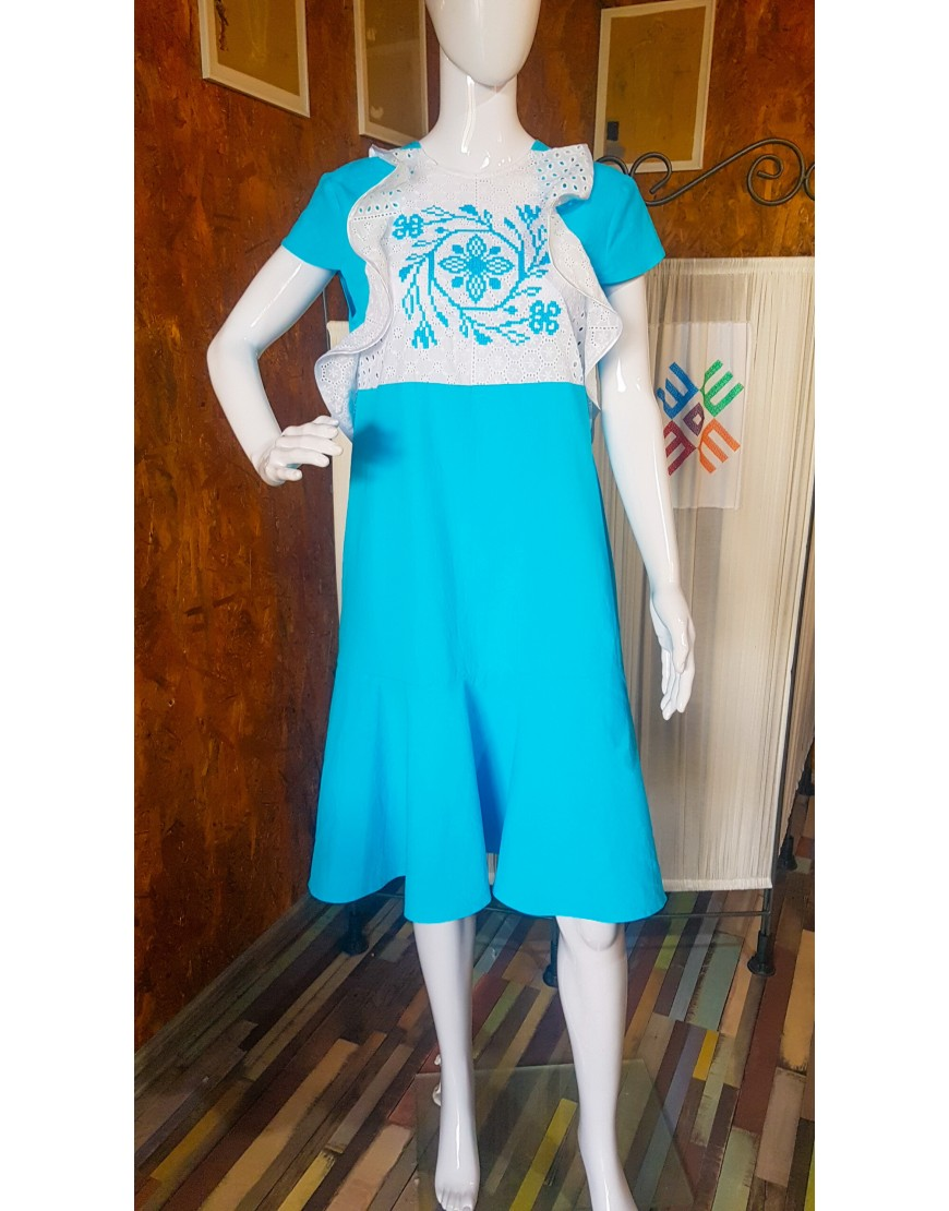 Spiralflowers Azure Dress with Lace Touch