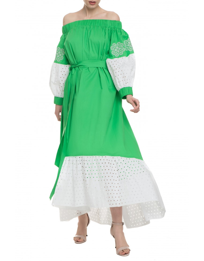Aries Green Long Dress with Lace Touch