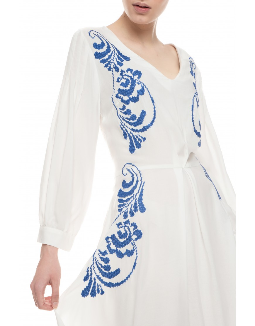 Blue Plume White Cotton Dress