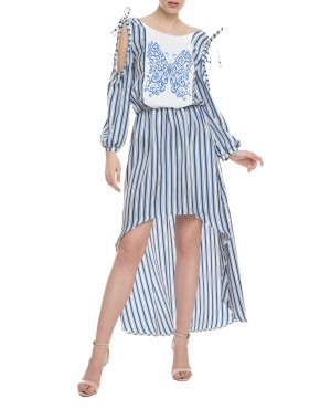 Butterfly Blue Stripes Silk Midi Dress