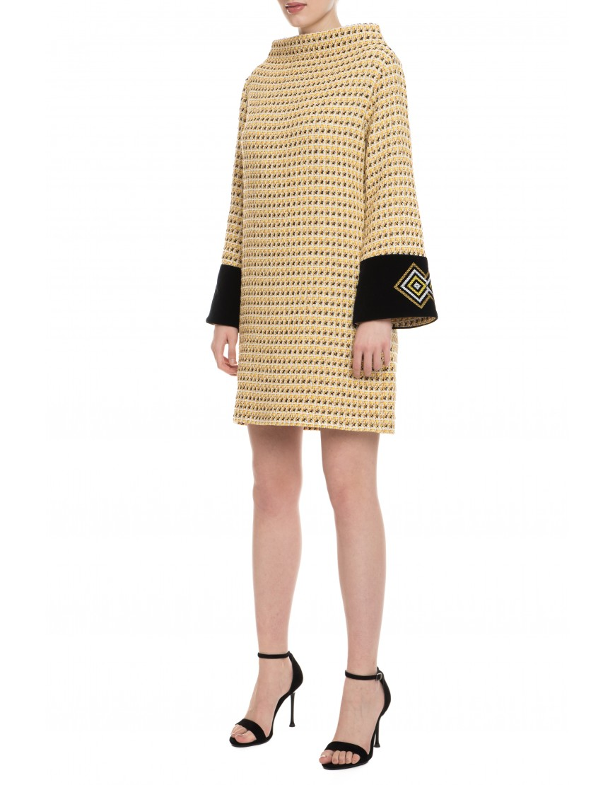 Diamonds Golden Wool Short Dress with Velvet Touch