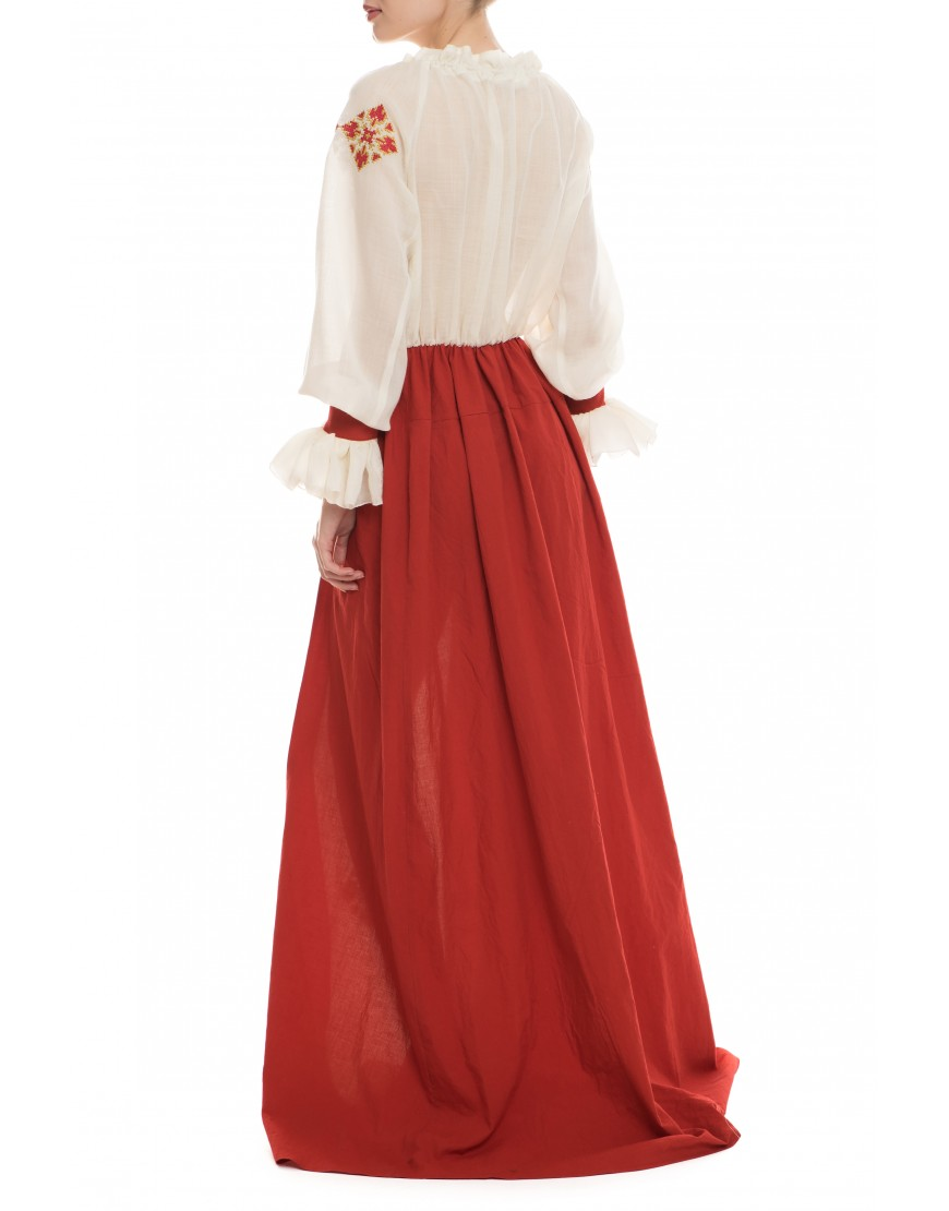 Florets Natur Wool Long Dress with Red Touch