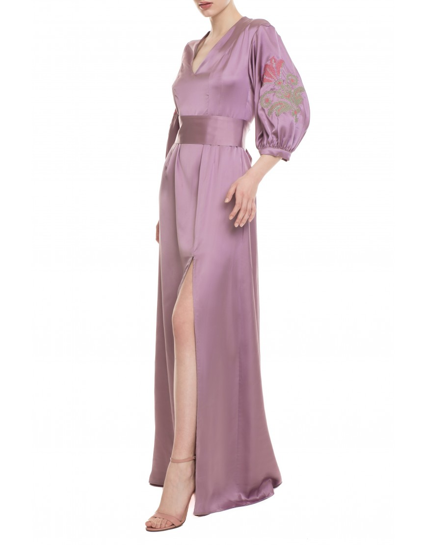 Lily Old Rose Silk Long Dress