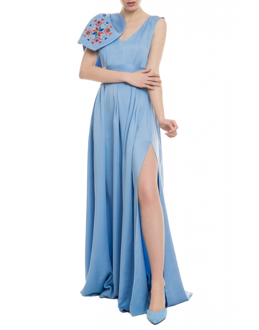Mosaic Baby Blue Silk Long Dress