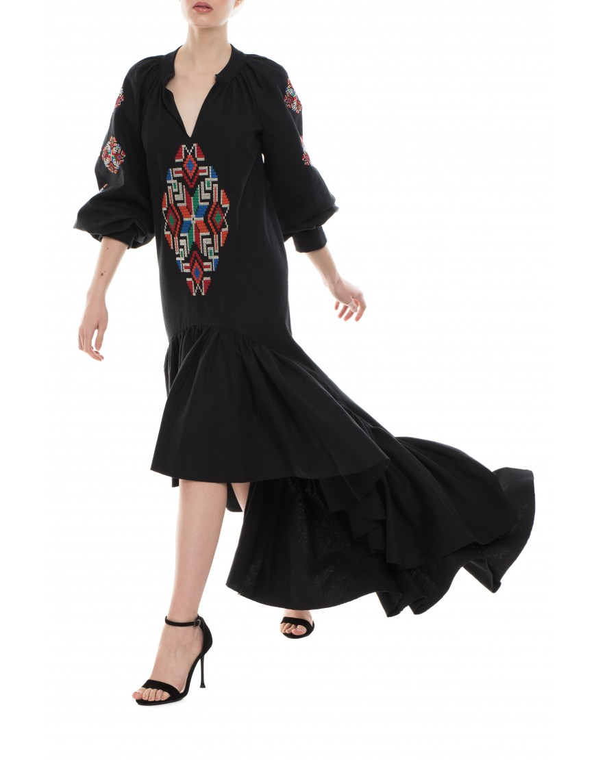 Mosaic Black Long Dress