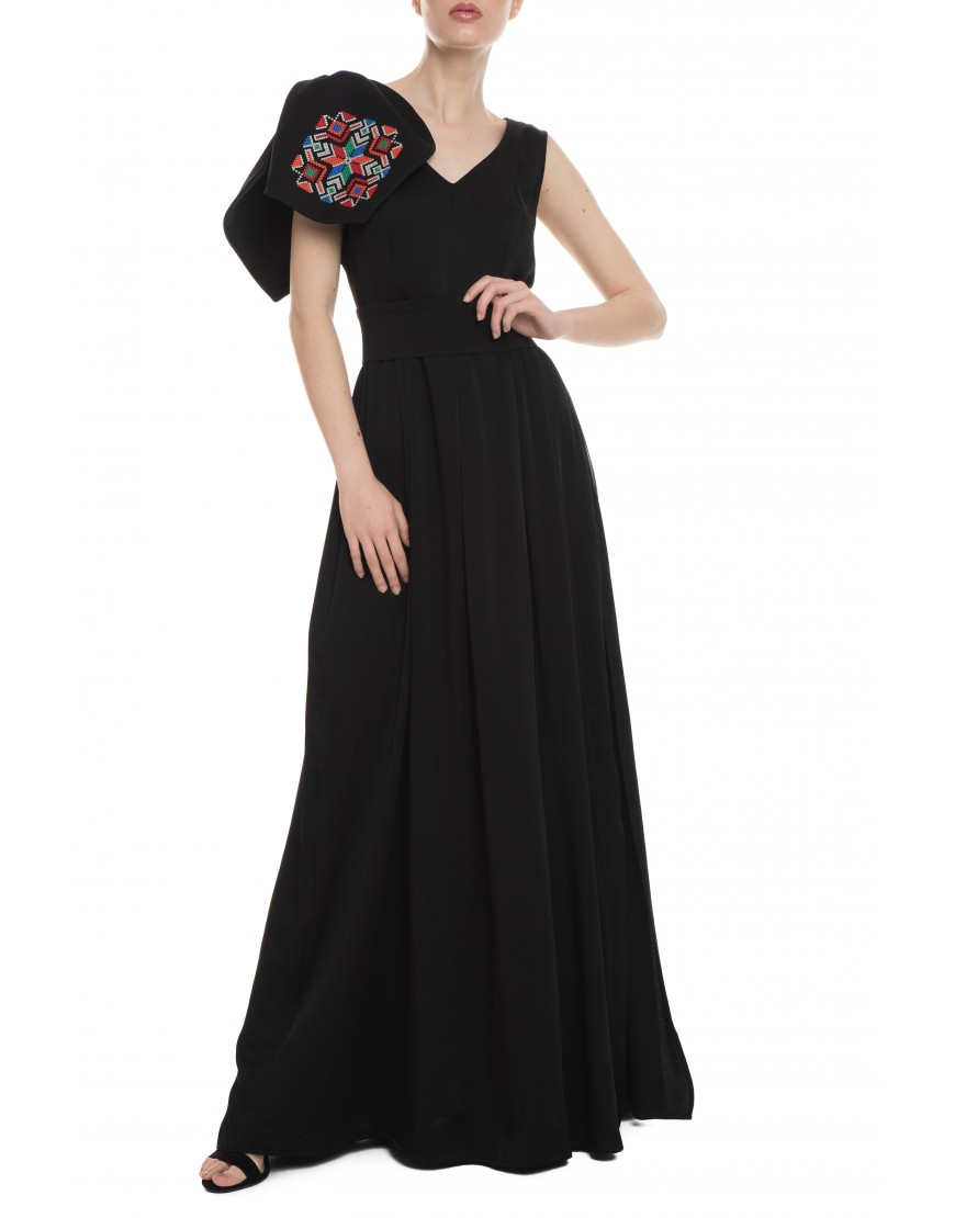 Mosaic Black Silk Long Dress