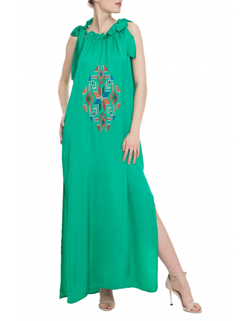 Mosaic Turquoise Green Silk Long Dress