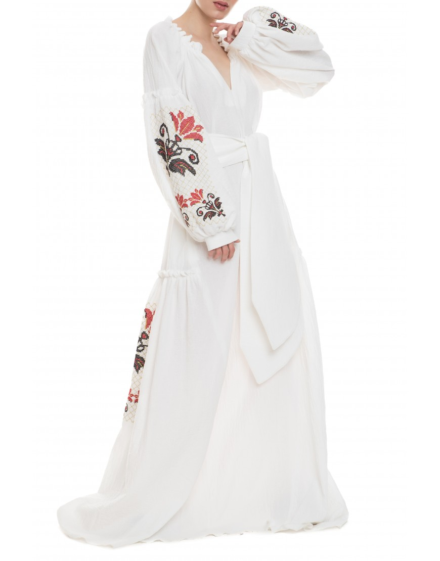 Red Lily White Long Dress