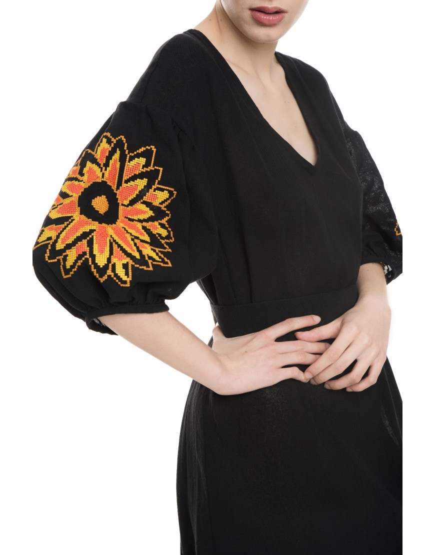 Sunflower Black Linen Long Dress