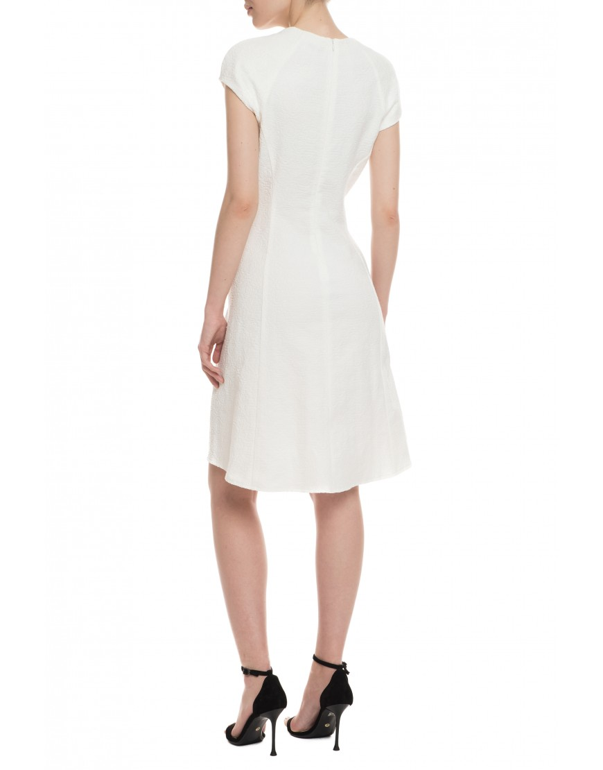 Tendril White Short Dress with Black Touch