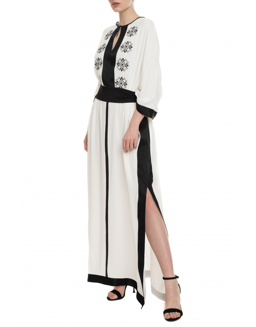 Tendril White Silk Long Dress with Black Touch