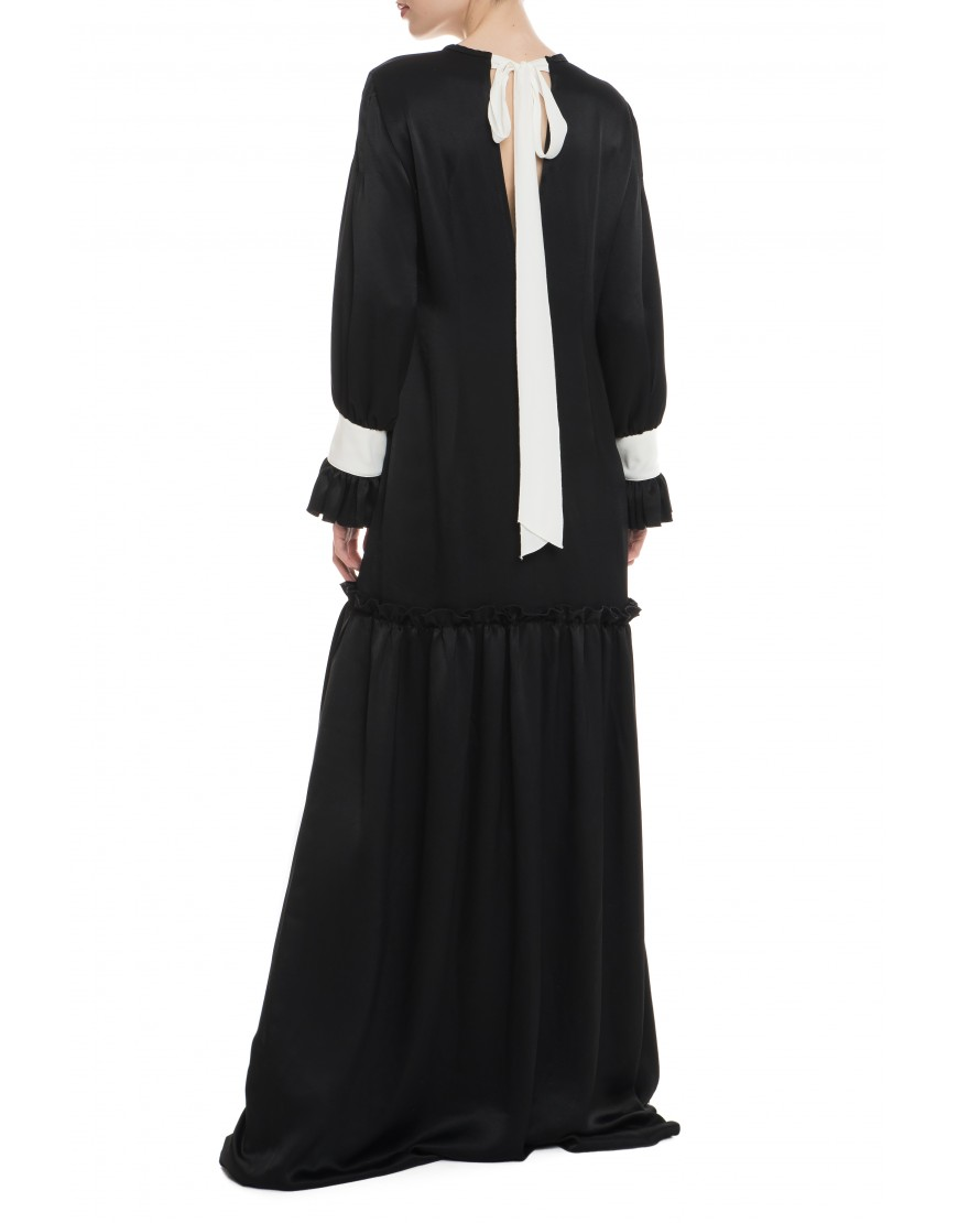 White Rose Black Silk Long Dress with White Touch