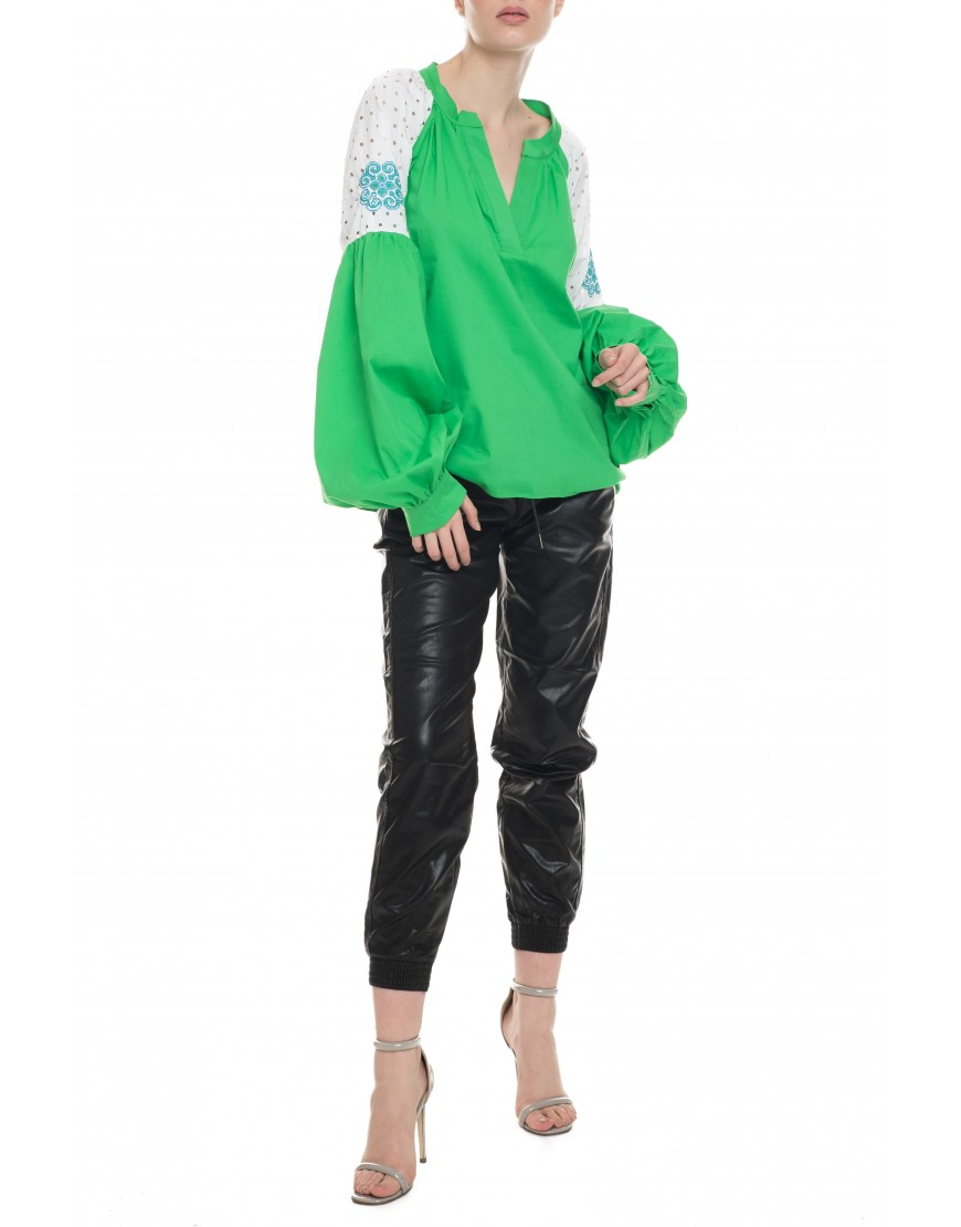 Aries Green Blouse with White Lace Touch