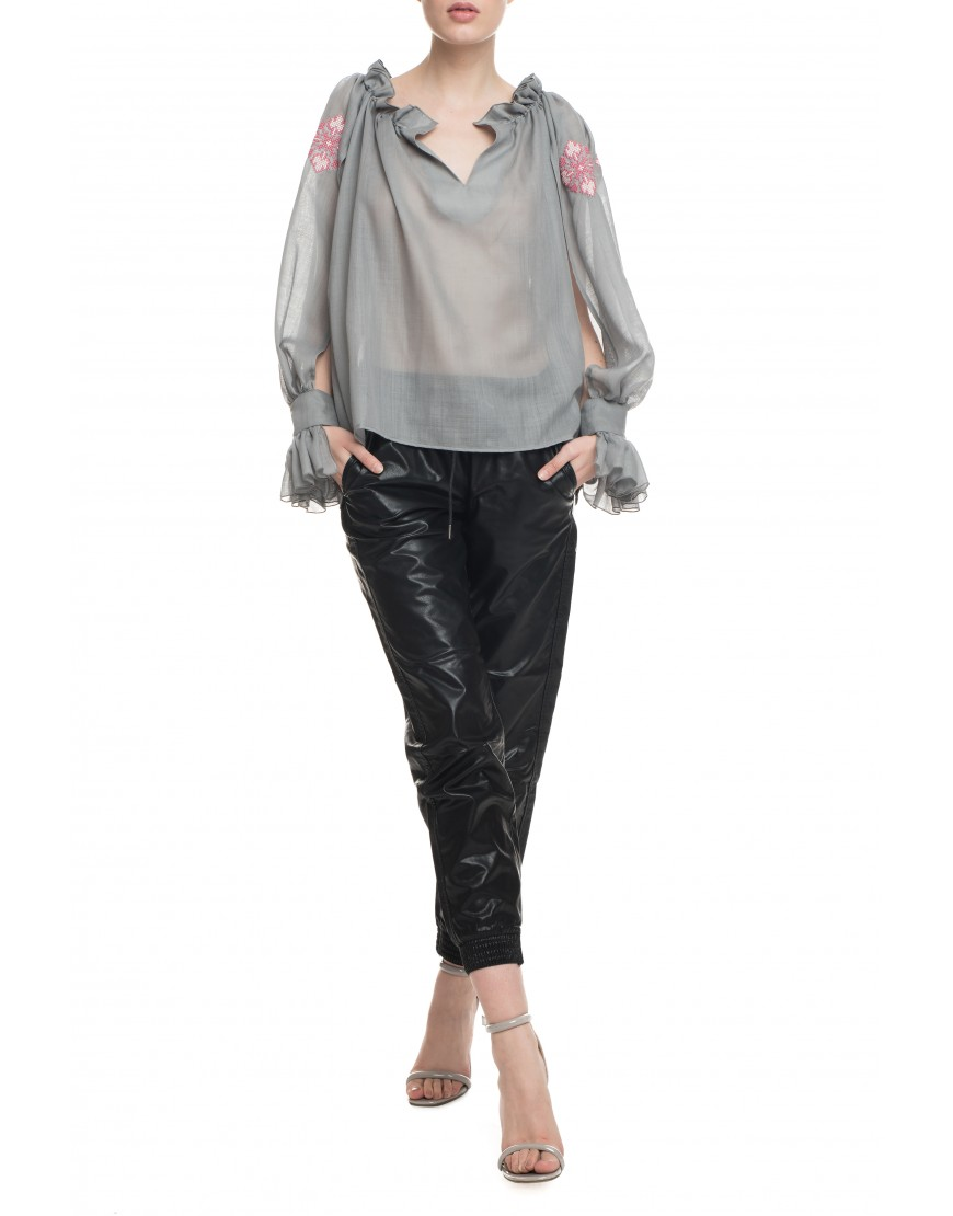 Florets Grey Wool Blouse