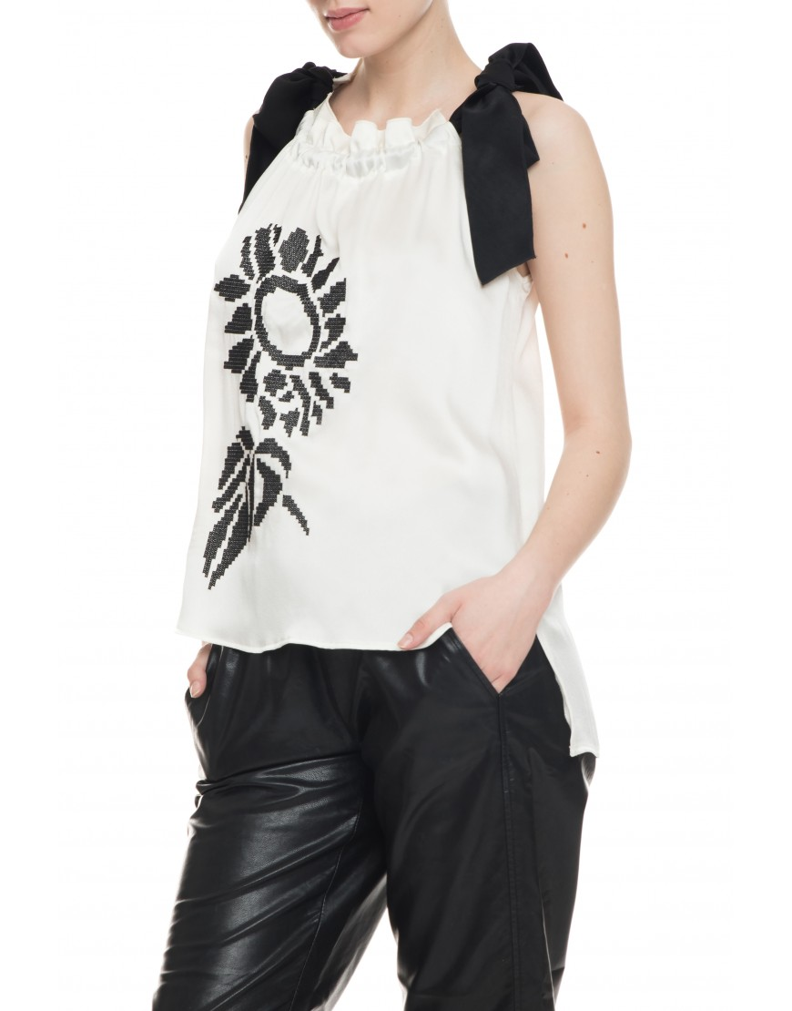 Sunflower White Silk Blouse with Black Touch
