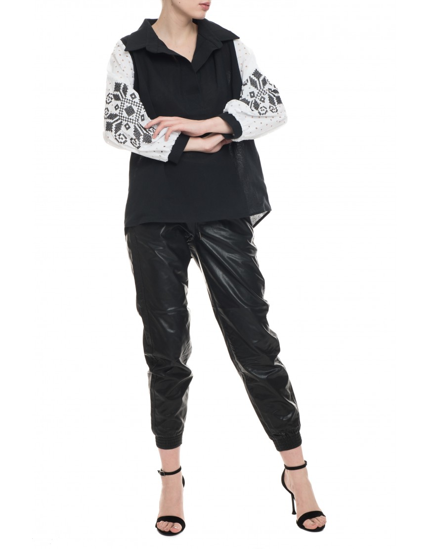 Tendril Black Blouse with White Lace Sleeves