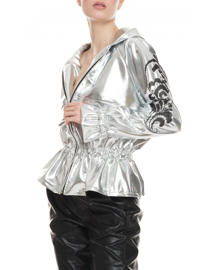 Black Plume Silver Jacket with Hood