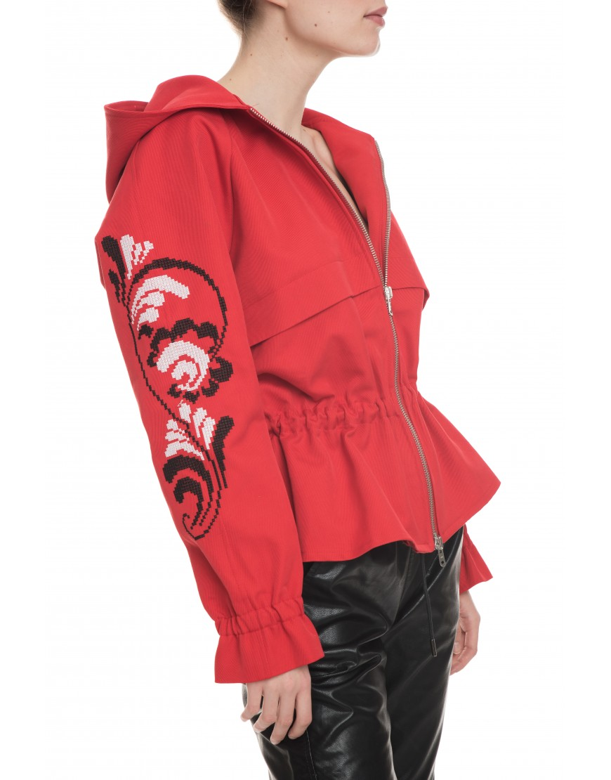 Plume Red Jacket with Hood