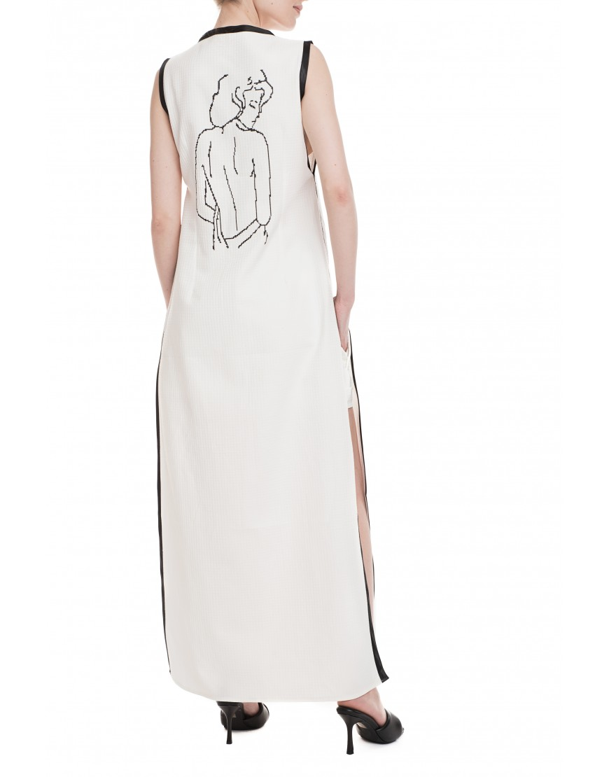 Misterious Woman White Long Vest-Dress