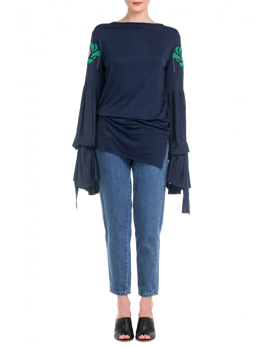 Anemone Blouse with long Sleeves in Navi Blue