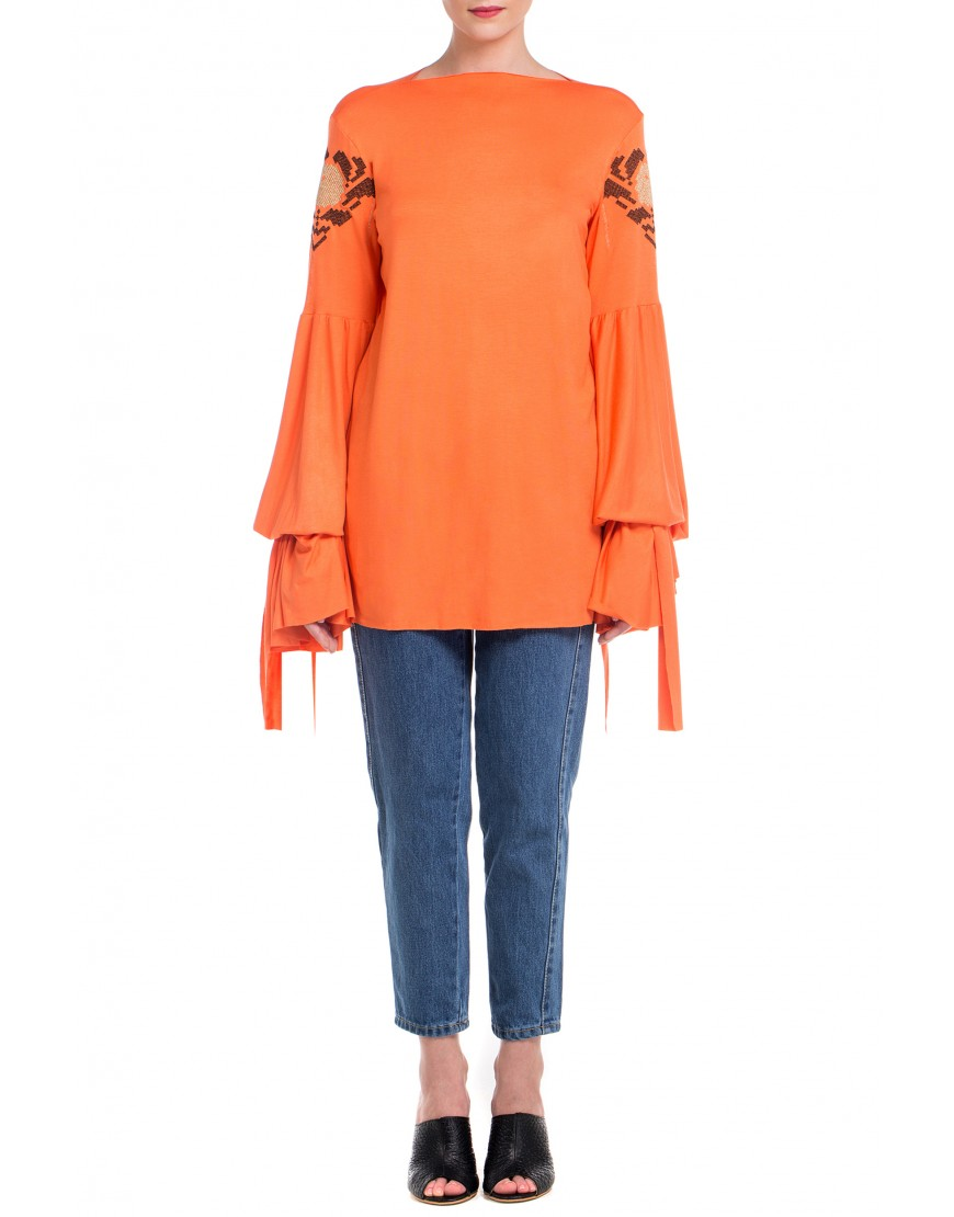 Anemone Blouse with long Sleeves in Orange