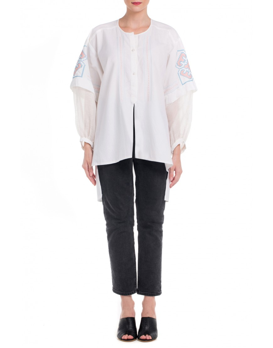 Origami White Blouse With Blue Touch